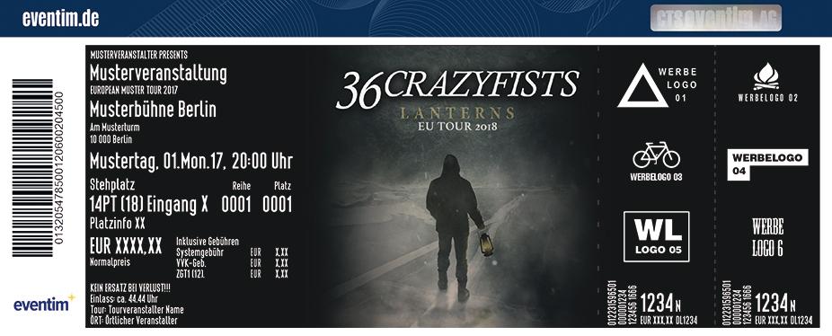 36 Crazyfists Karten für ihre Events 2018