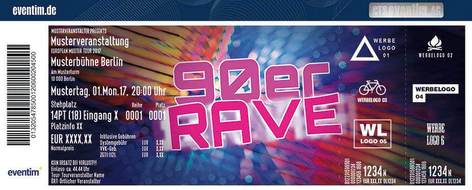 Karten für 90er Rave - das mega Spektakel mit den Kultstars der 90er in Stuttgart