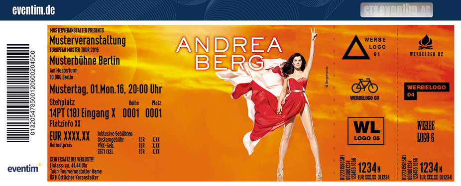 Andrea Berg Karten für ihre Events 2017
