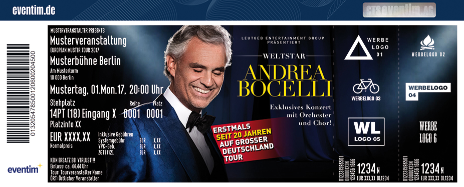 Karten für Andrea Bocelli - World Tour in Hamburg