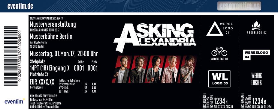 Asking Alexandria Karten für ihre Events 2018