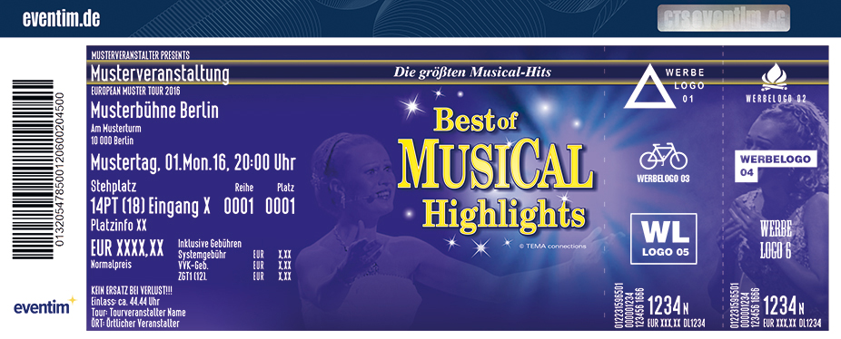 Karten für Best of Musical Highlights in Hof / Saale