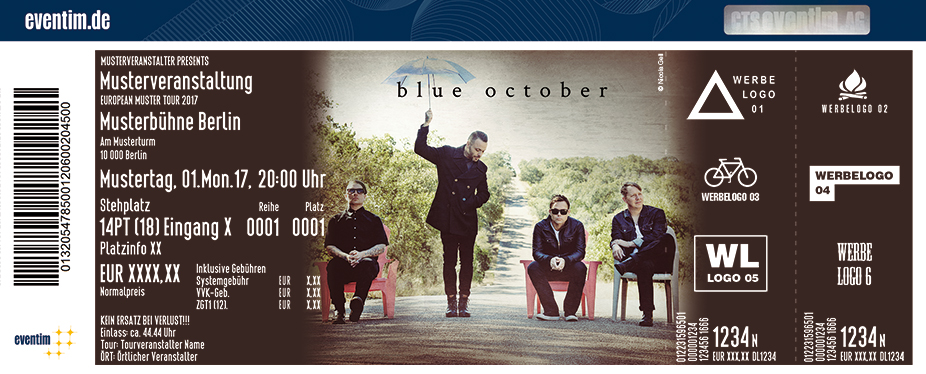 Blue October Karten für ihre Events 2017