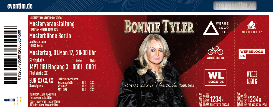 Karten für Bonnie Tyler: 40 Years It's A Heartache Tournee 2018 in Mainz