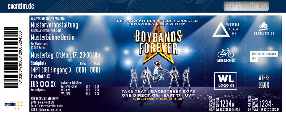 Karten für Boybands Forever - Die Show mit den Hits der größten Boygroups! in Kiel