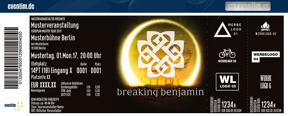 Breaking Benjamin Karten für ihre Events 2017