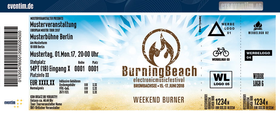 Burning Beach Karten für ihre Events 2017