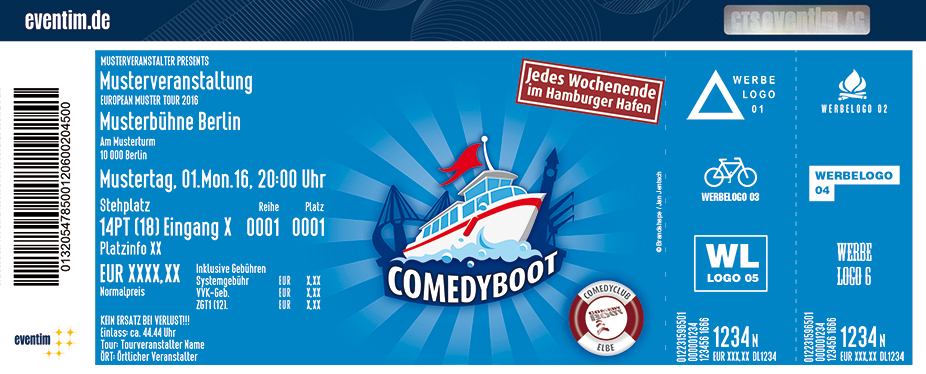 Karten für ComedyBoot: Der schwimmende ComedyClub auf der Elbe in Hamburg
