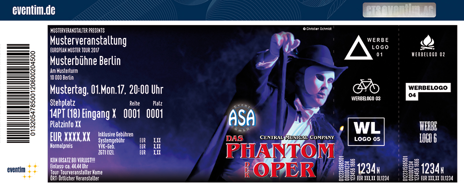Karten für Das Phantom der Oper - Central Musical Company in Oldenburg