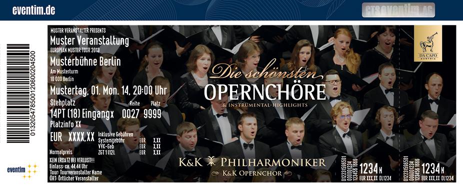 Karten für Die schönsten Opernchöre - K&K Philharmoniker und K&K Opernchor 2017 in Nürnberg