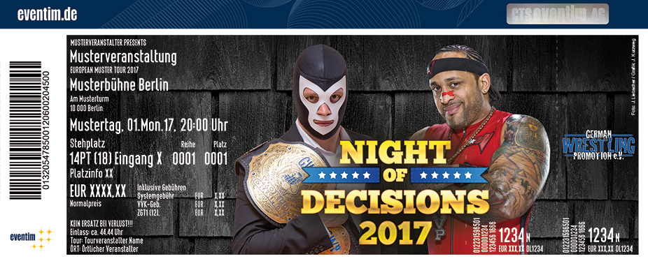 German Wrestling Promotion Karten für ihre Events 2017