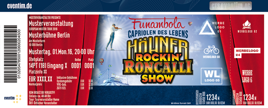 De Höhner Rockin Roncalli Show Karten für ihre Events 2018
