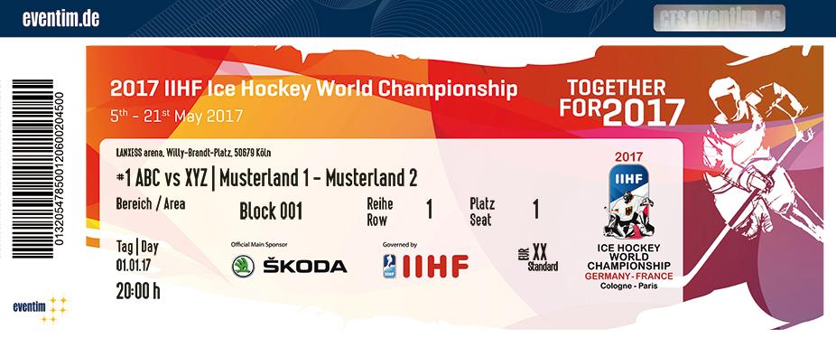 Karten für 2017 IIHF WM - Game Ticket in Köln