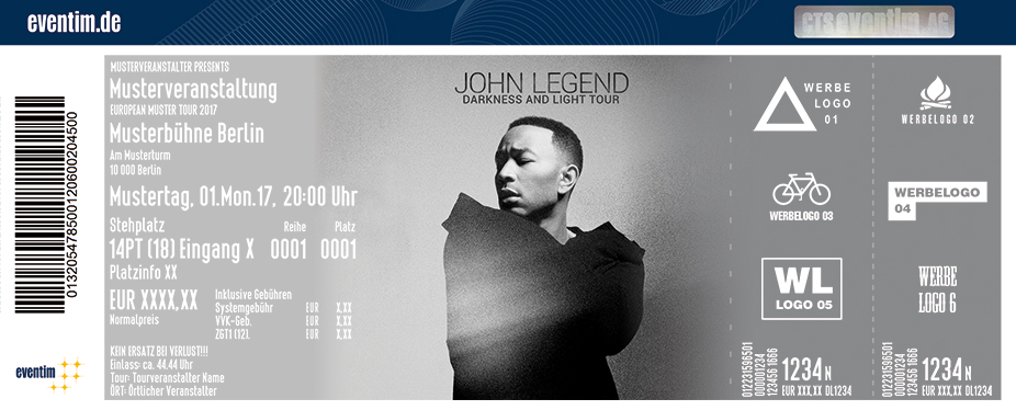 Karten für John Legend: Darkness and Light Tour in München - Freimann