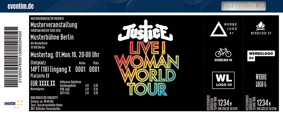 Justice Karten für ihre Events 2017
