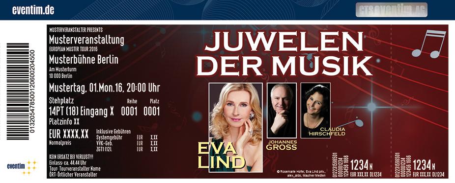 Karten für Juwelen der Musik: Eva Lind, Johannes Groß und Claudia Hirschfeld in Aalen