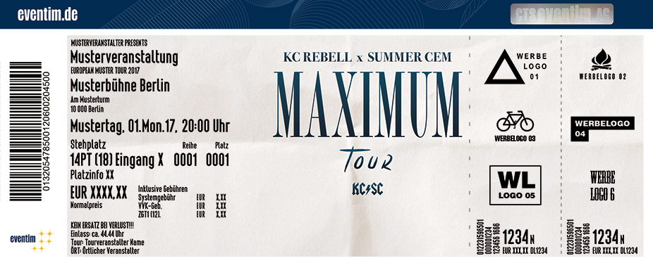 Karten für KC Rebell & Summer Cem: Maximum Tour 2017 in Berlin