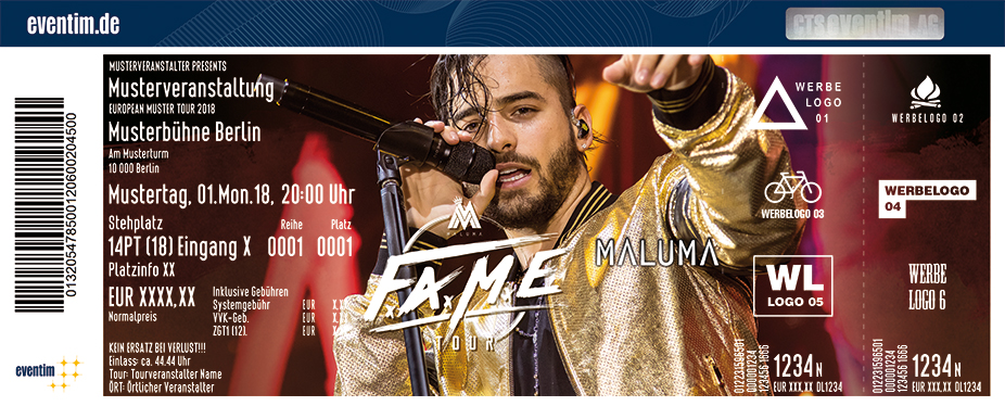 Karten für Maluma - Fame World Tour 2018 in Berlin
