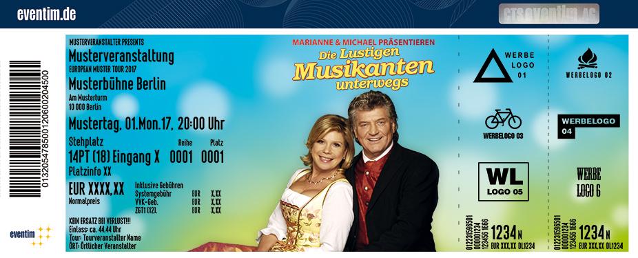 Karten für Marianne & Michael präsentieren: Die lustigen Musikanten - unterwegs in Lübben