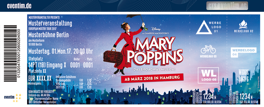 Karten für MARY POPPINS - DAS MUSICAL in Hamburg in Hamburg