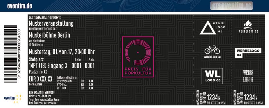 Karten für Preis für Popkultur 2017 in Berlin