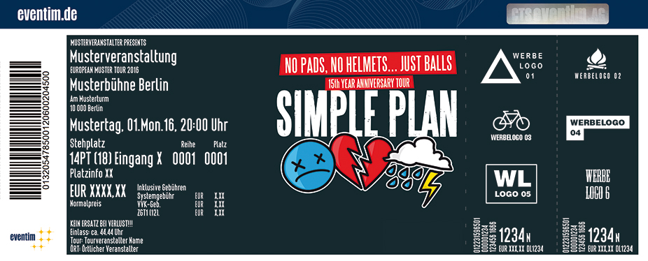 Simple Plan Karten für ihre Events 2017
