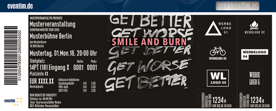 Smile & Burn Karten für ihre Events 2017