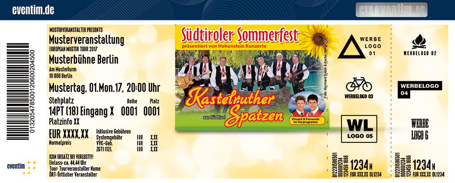 Karten für Kastelruther Spatzen: Südtiroler Sommerfest 2018 in Emsetal Ot Fischbach