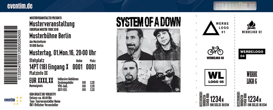 System Of A Down Karten für ihre Events 2017