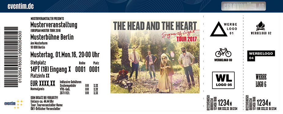 The Head And The Heart Karten für ihre Events 2017