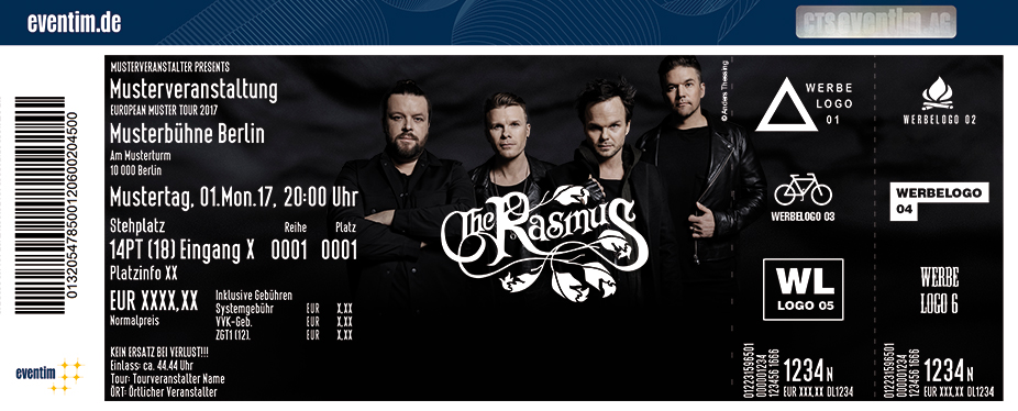 The Rasmus Karten für ihre Events 2018