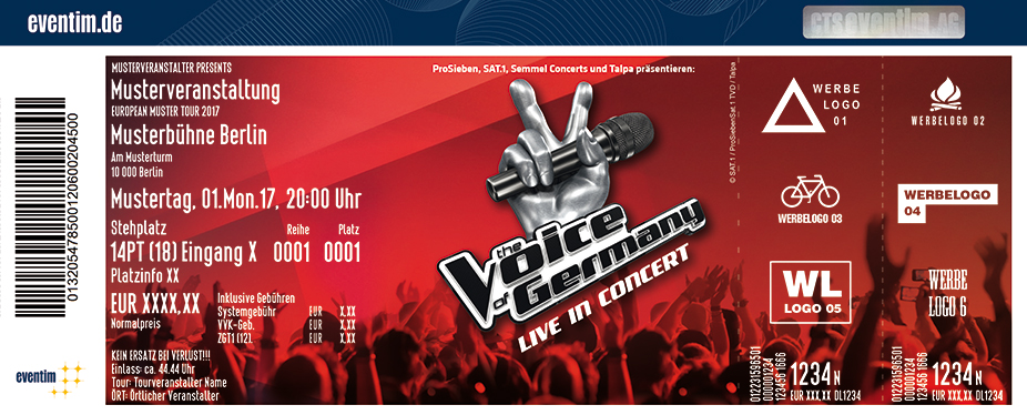 Karten für The Voice of Germany - Live in Concert 2017/2018 in Nürnberg