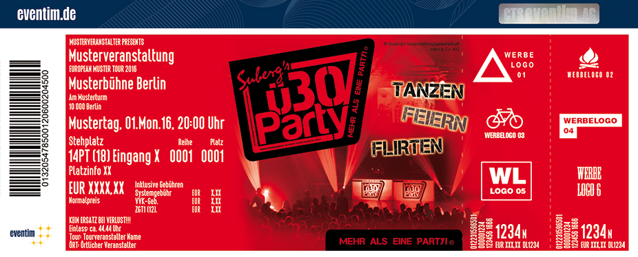 Karten für Suberg`s ü30 Party in Leuna